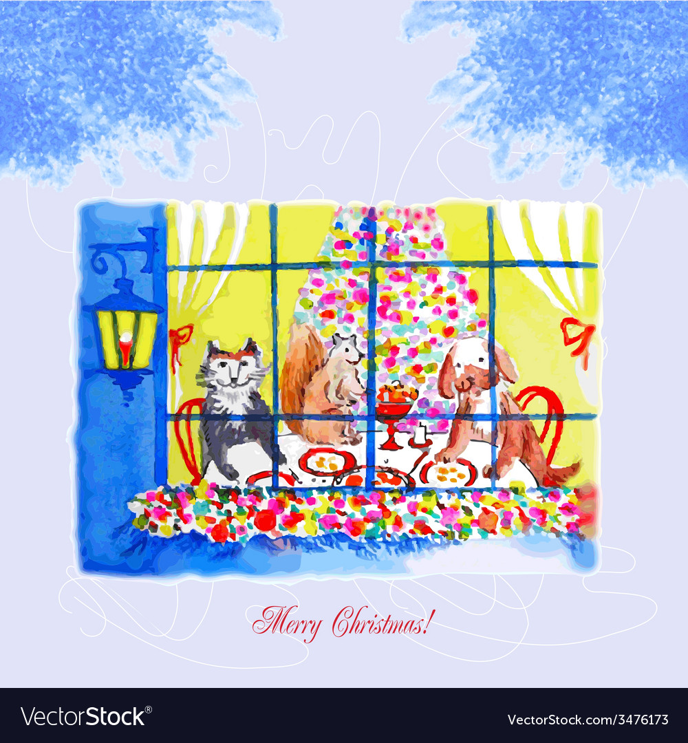 Card with christmas eve a dog and a cat vector | Price: 1 Credit (USD $1)