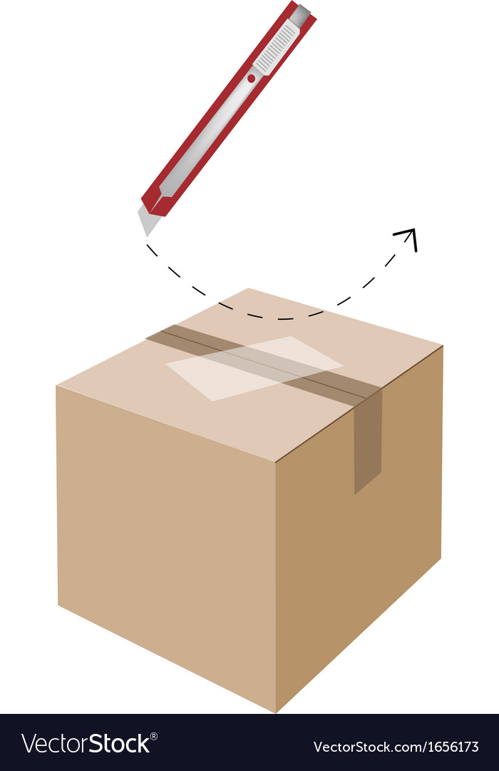 Correct cutting procedure to open a cardboard box vector | Price: 1 Credit (USD $1)