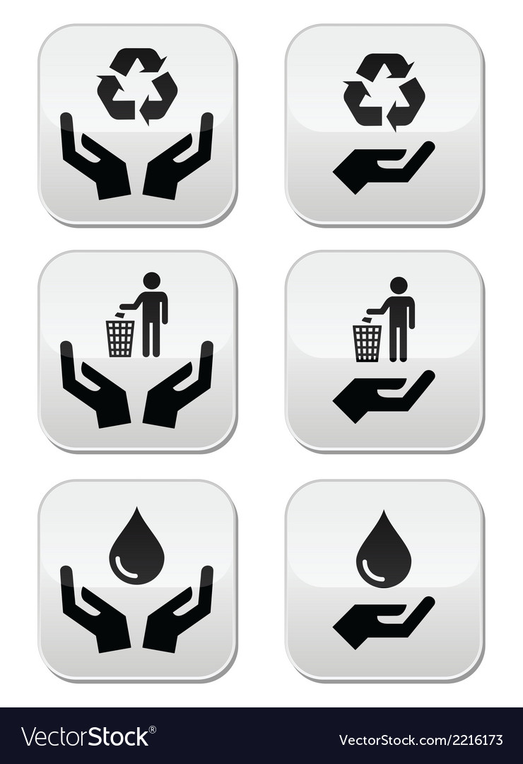 Hands with green ecology symbols icons set vector | Price: 1 Credit (USD $1)