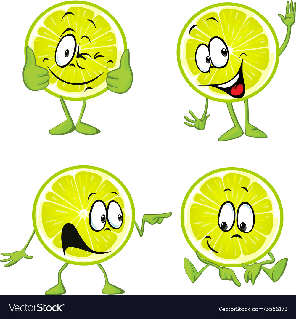 Lime cartoon with hands isolated on white vector | Price: 1 Credit (USD $1)