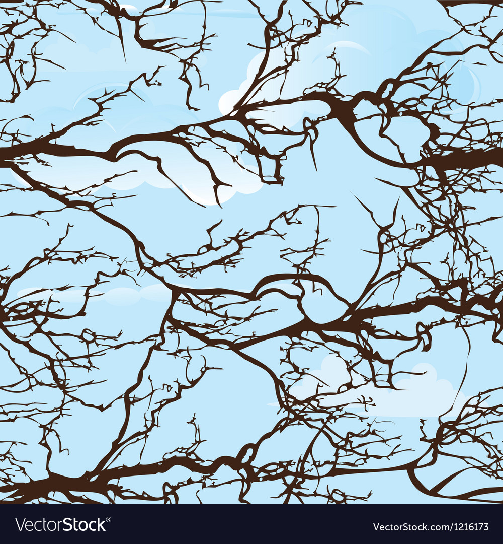 Seamless background pattern tree on cloud sky natu vector | Price: 1 Credit (USD $1)