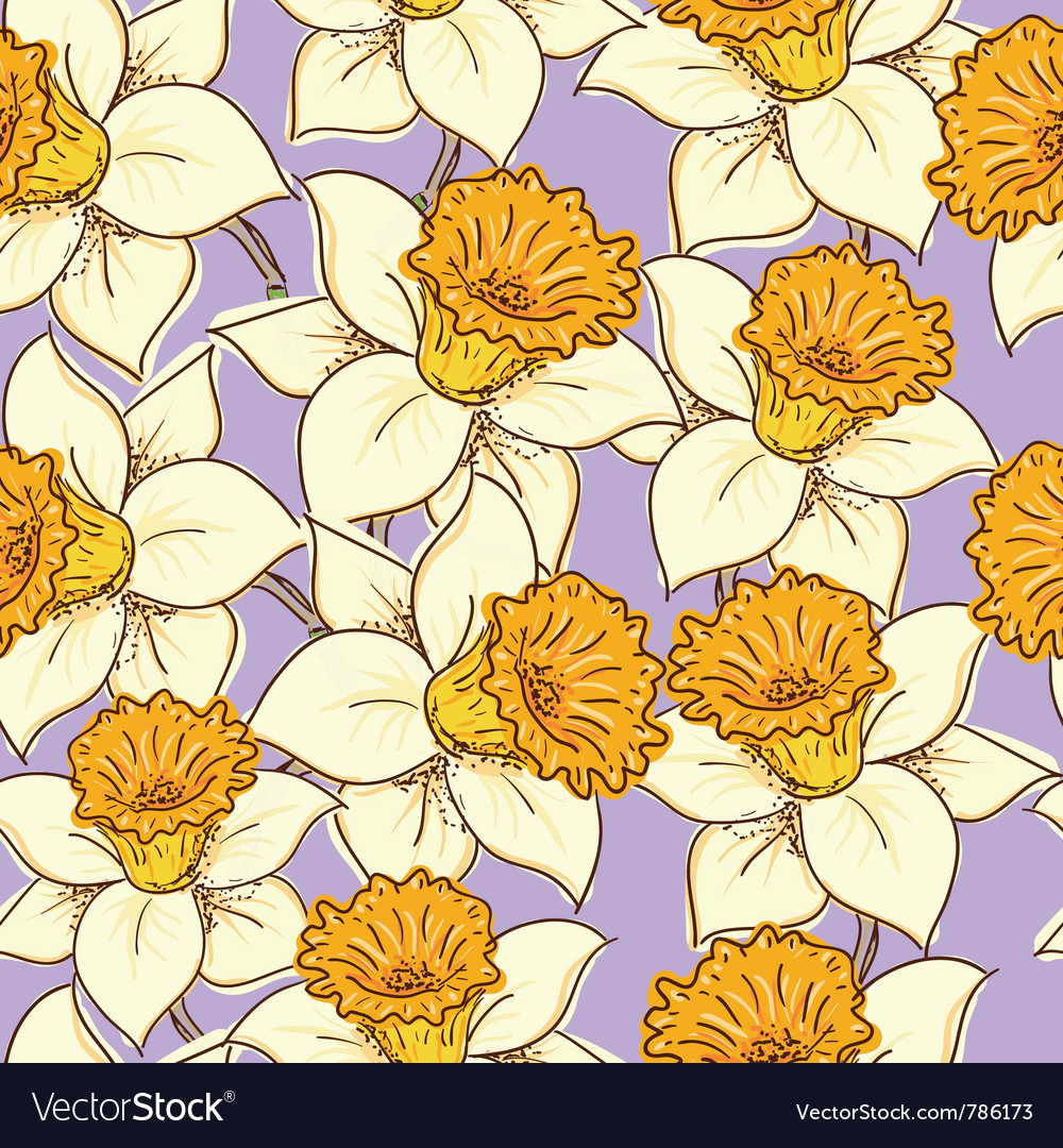 Seamless pattern with daffodil vector | Price: 1 Credit (USD $1)