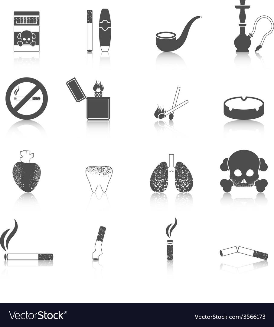 Smoking icon black set vector | Price: 1 Credit (USD $1)