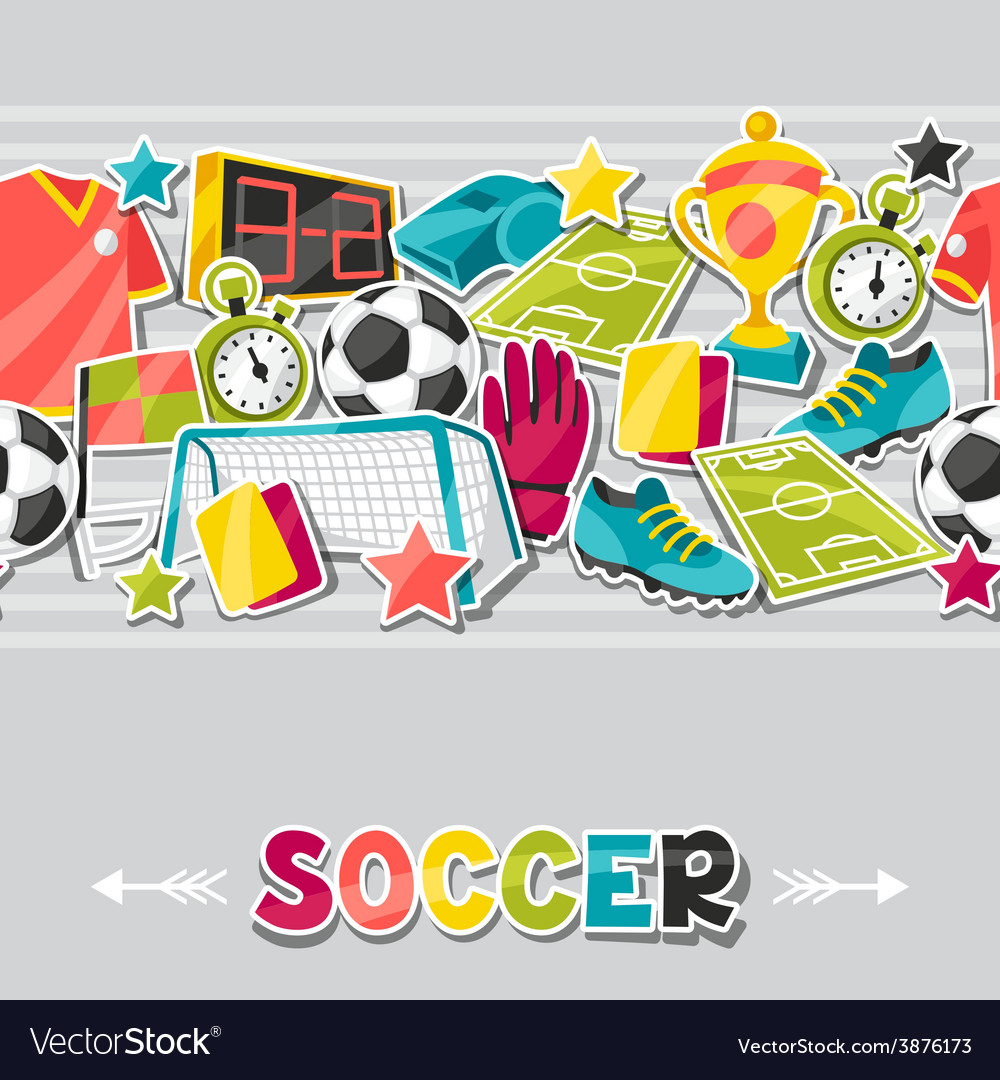 Sports seamless pattern with soccer sticker vector   Price: 1 Credit (USD $1)