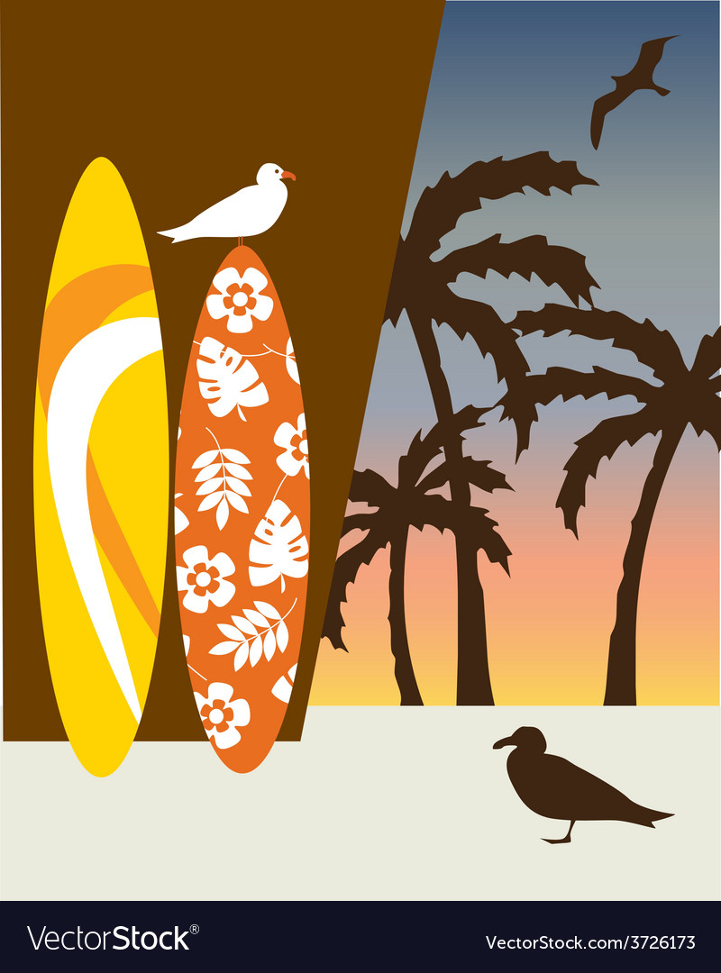 Surf boards and palm trees vector | Price: 1 Credit (USD $1)