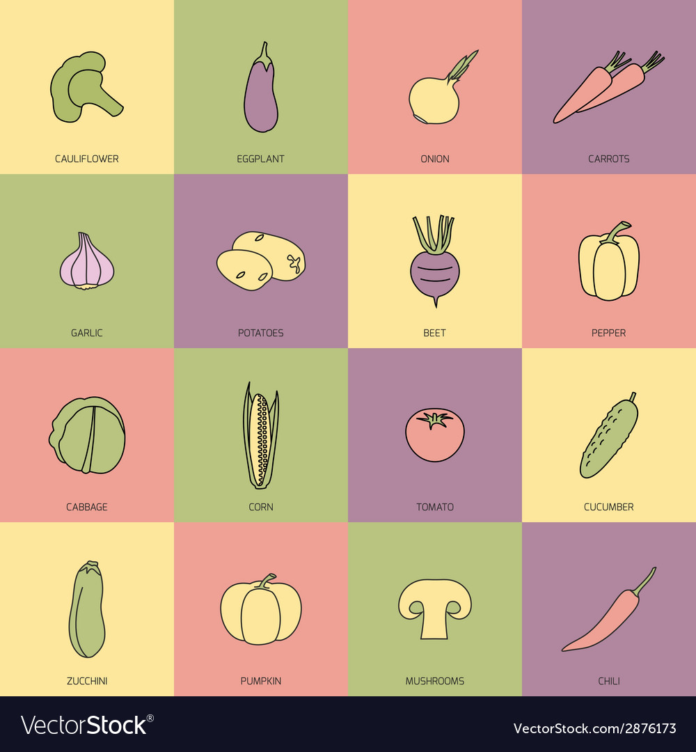 Vegetables icons flat line set vector | Price: 1 Credit (USD $1)