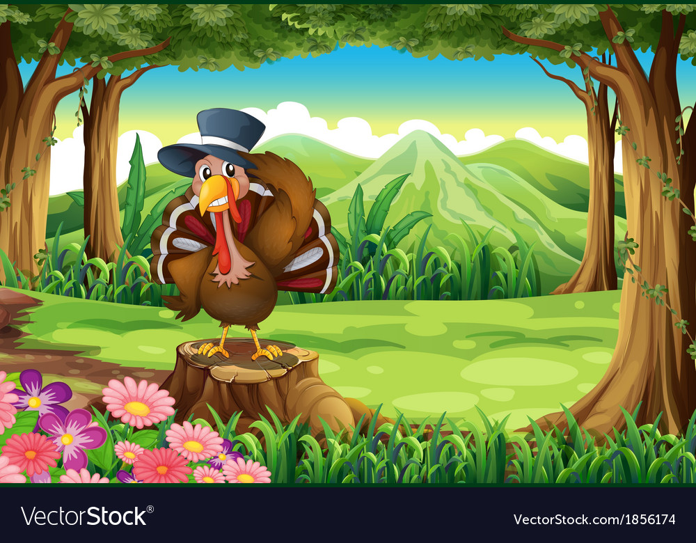 A turkey at the forest standing above the stump vector | Price: 3 Credit (USD $3)