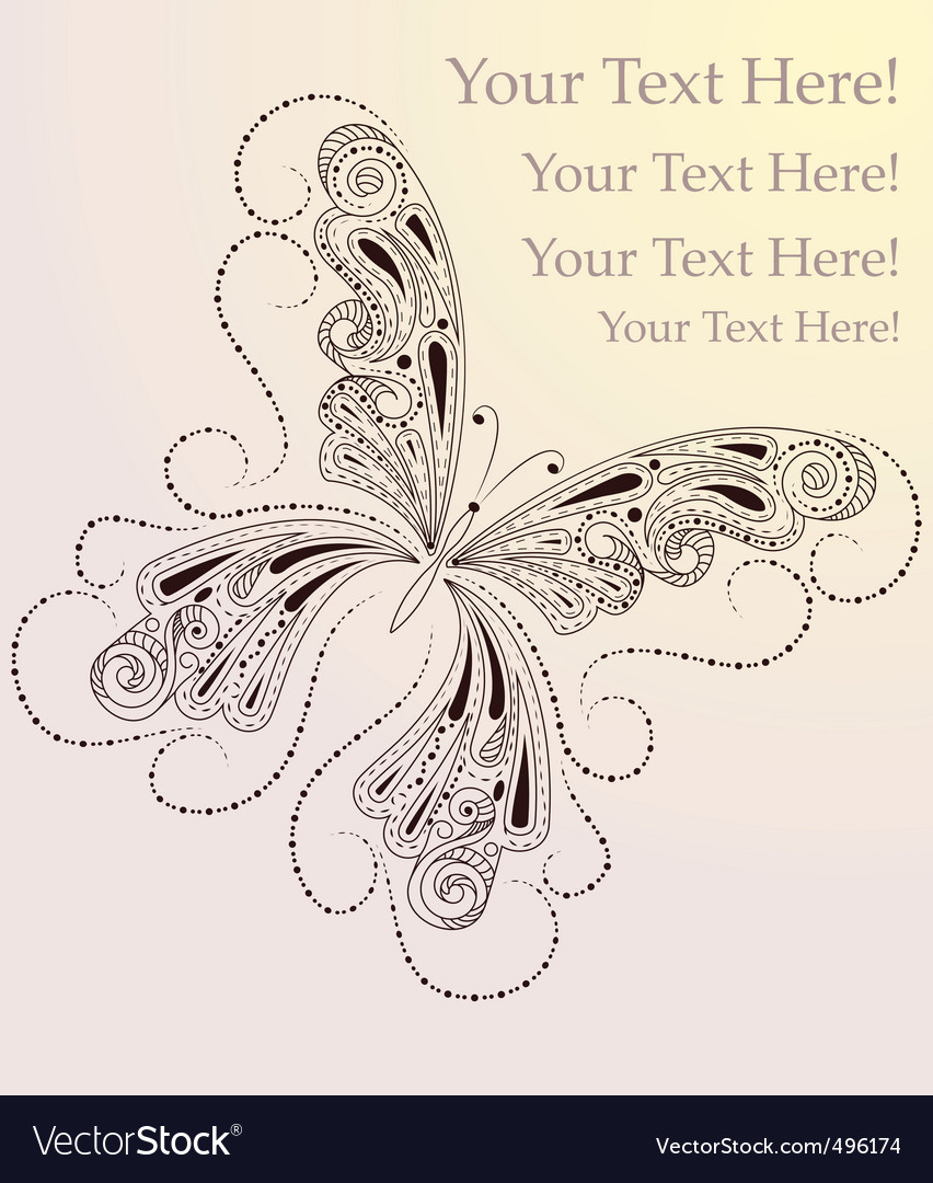 Butterfly drawing vector | Price: 1 Credit (USD $1)