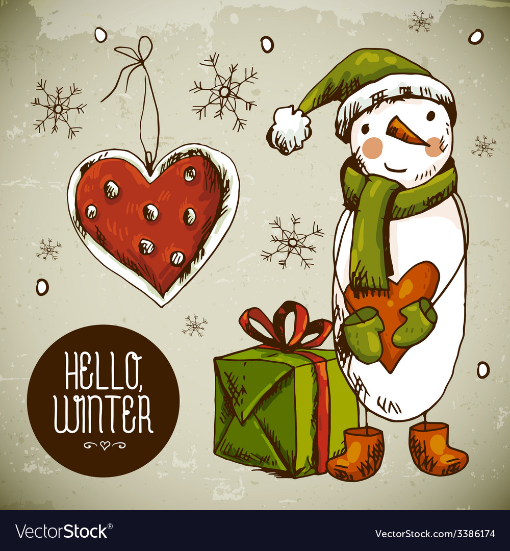 Christmas greeting card with snowman vector | Price: 1 Credit (USD $1)