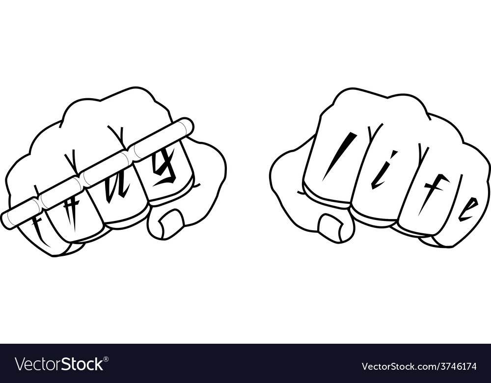 Clenched man fists with thug life tattoo holding vector | Price: 1 Credit (USD $1)