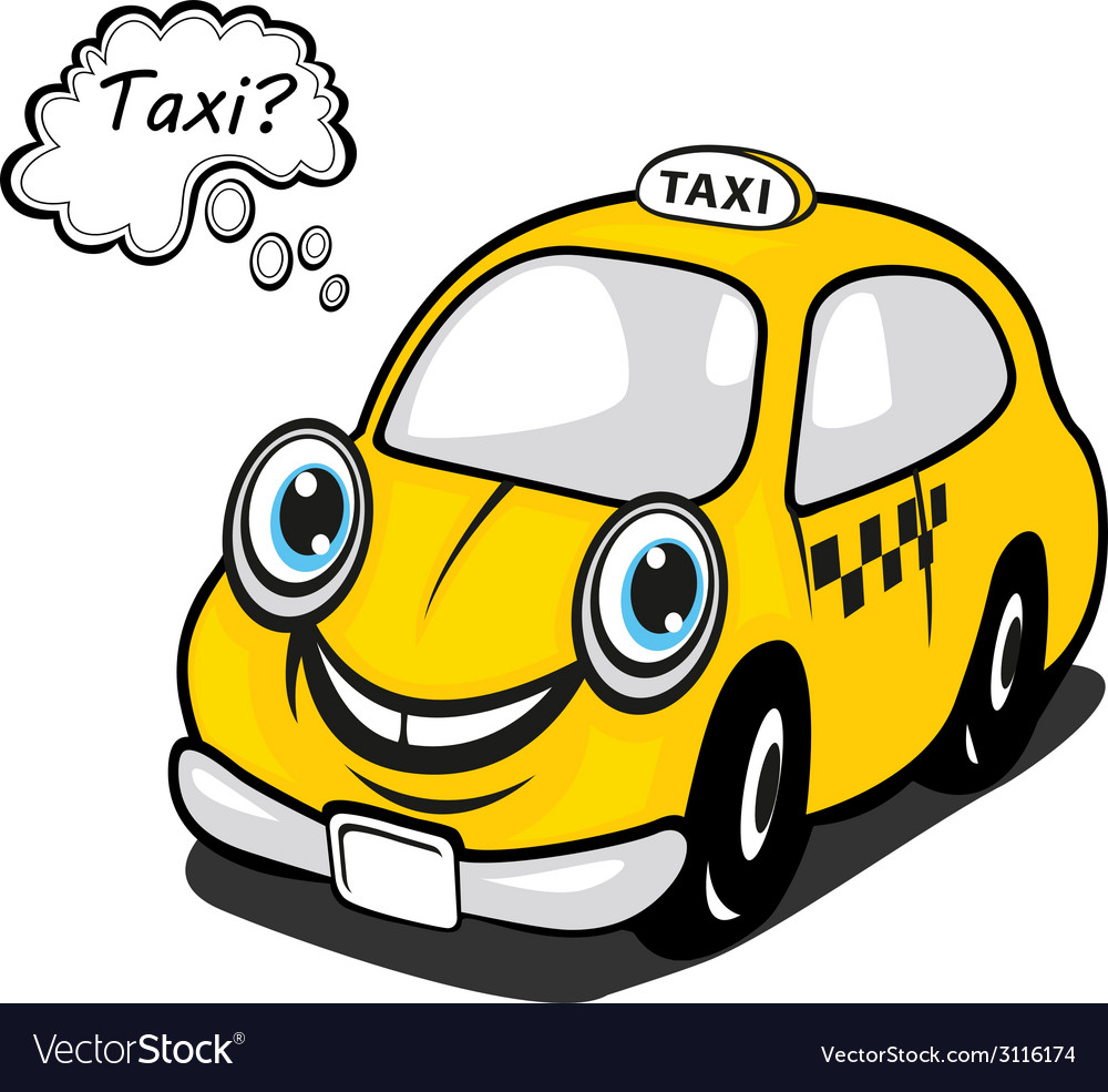 Cute yellow cartoon taxi with a thought bubble vector | Price: 1 Credit (USD $1)