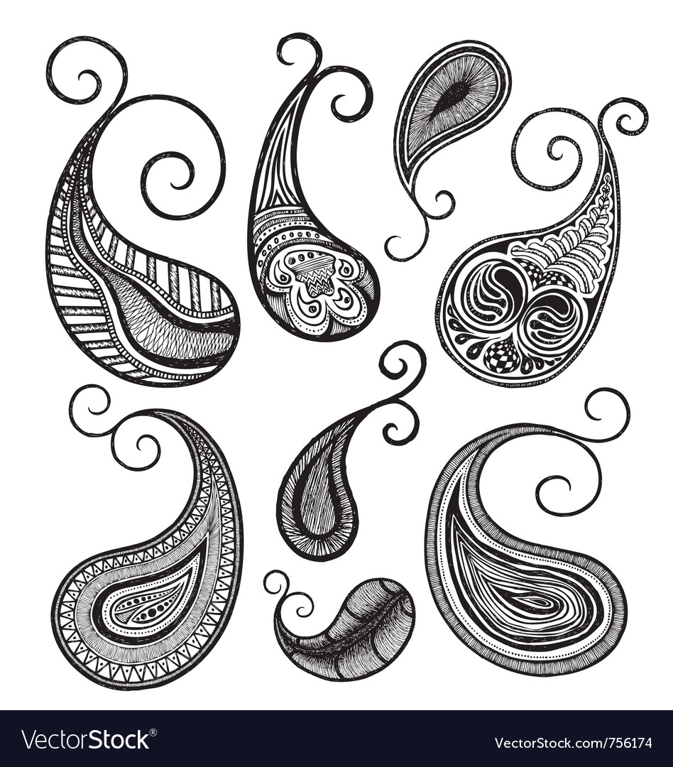 Hand drawing paisley vector | Price: 1 Credit (USD $1)