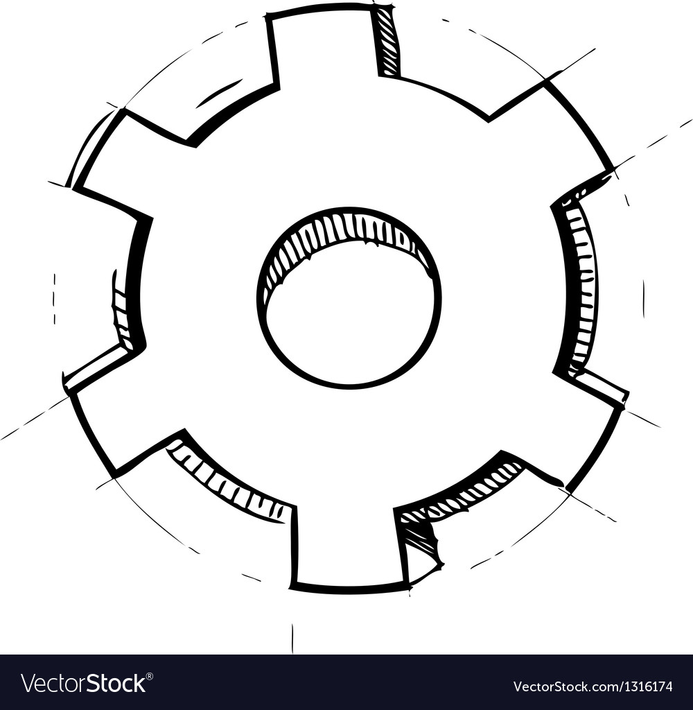 Hand drawn gear vector | Price: 1 Credit (USD $1)