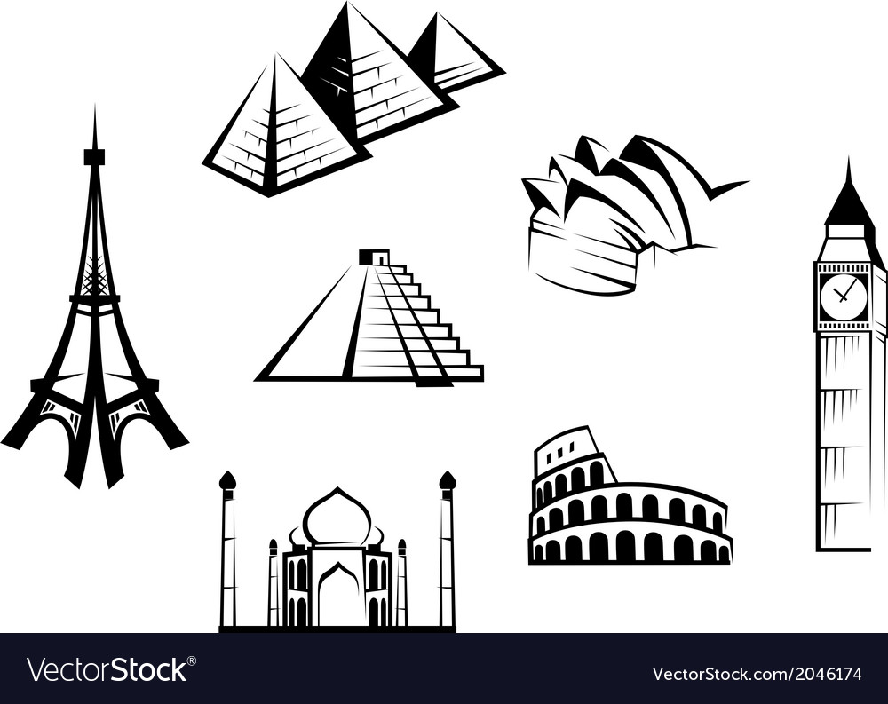Historical landmarks set vector | Price: 1 Credit (USD $1)