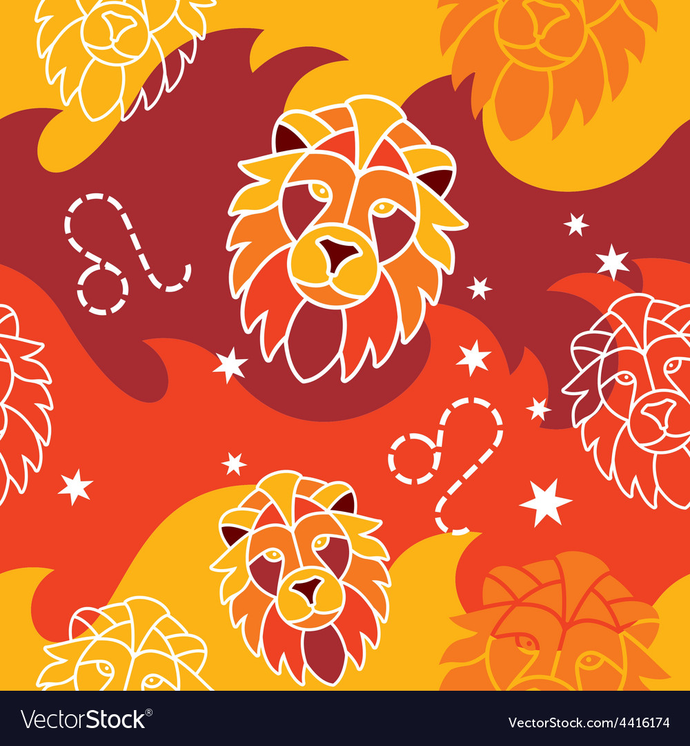 Leo - zodiac seamless pattern vector | Price: 1 Credit (USD $1)