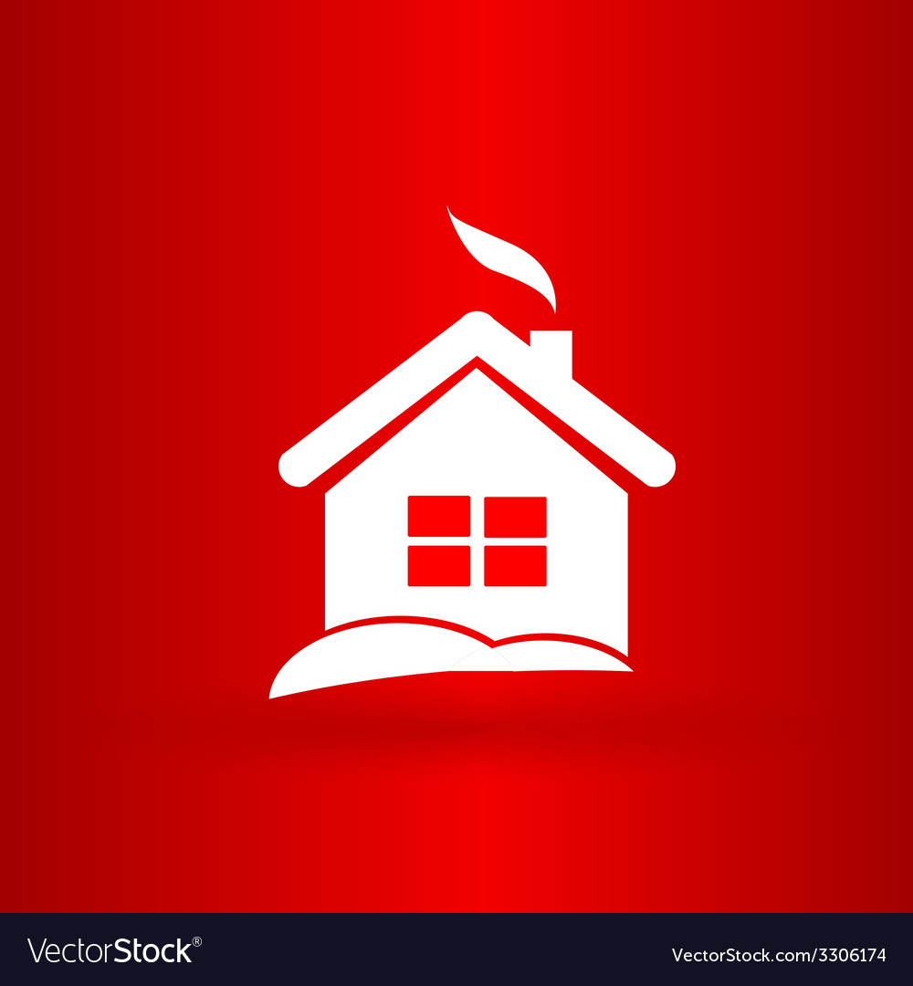 Nice christmas house on the red background vector | Price: 1 Credit (USD $1)