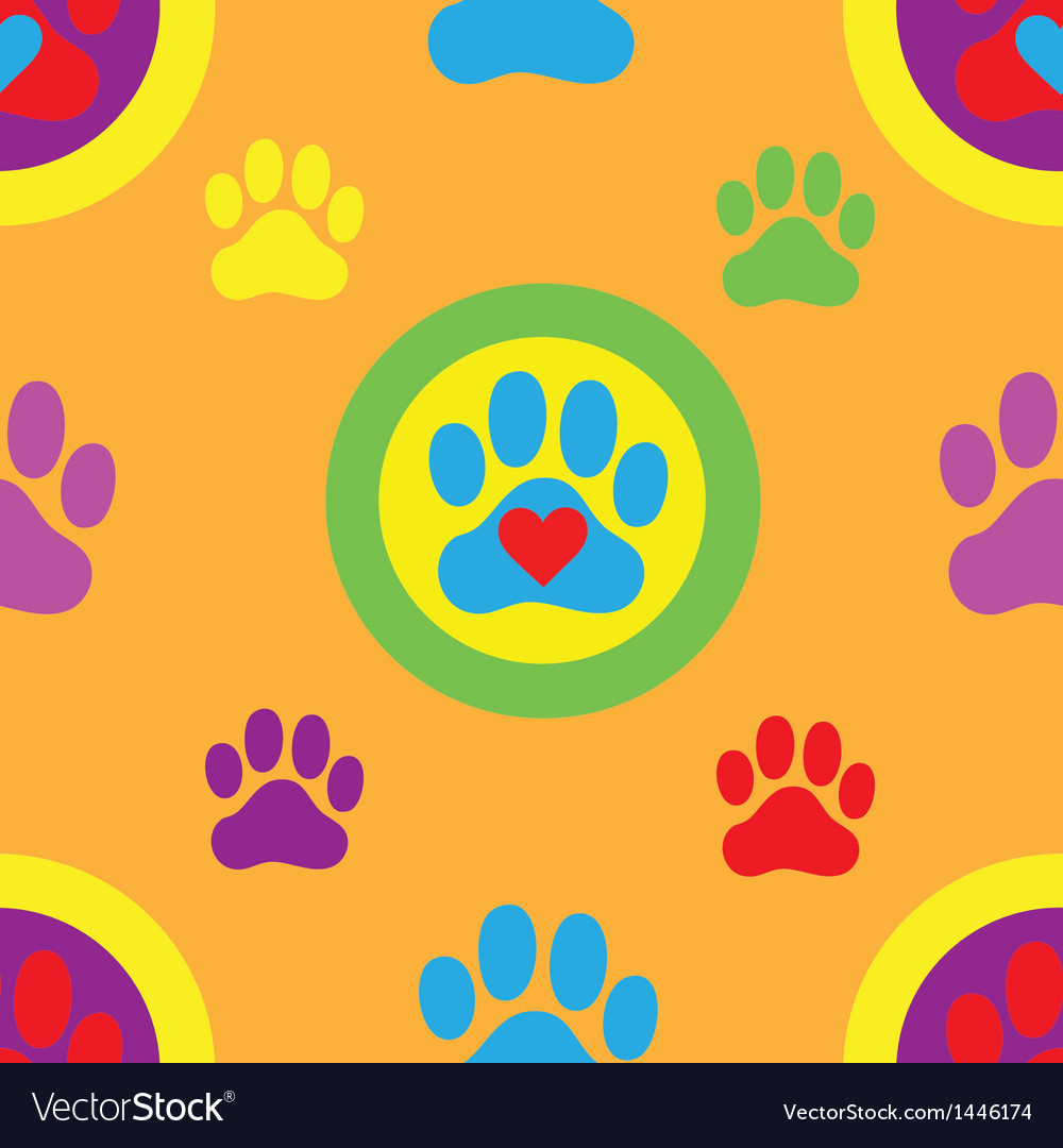 Pawprint seamless pattern vector | Price: 1 Credit (USD $1)