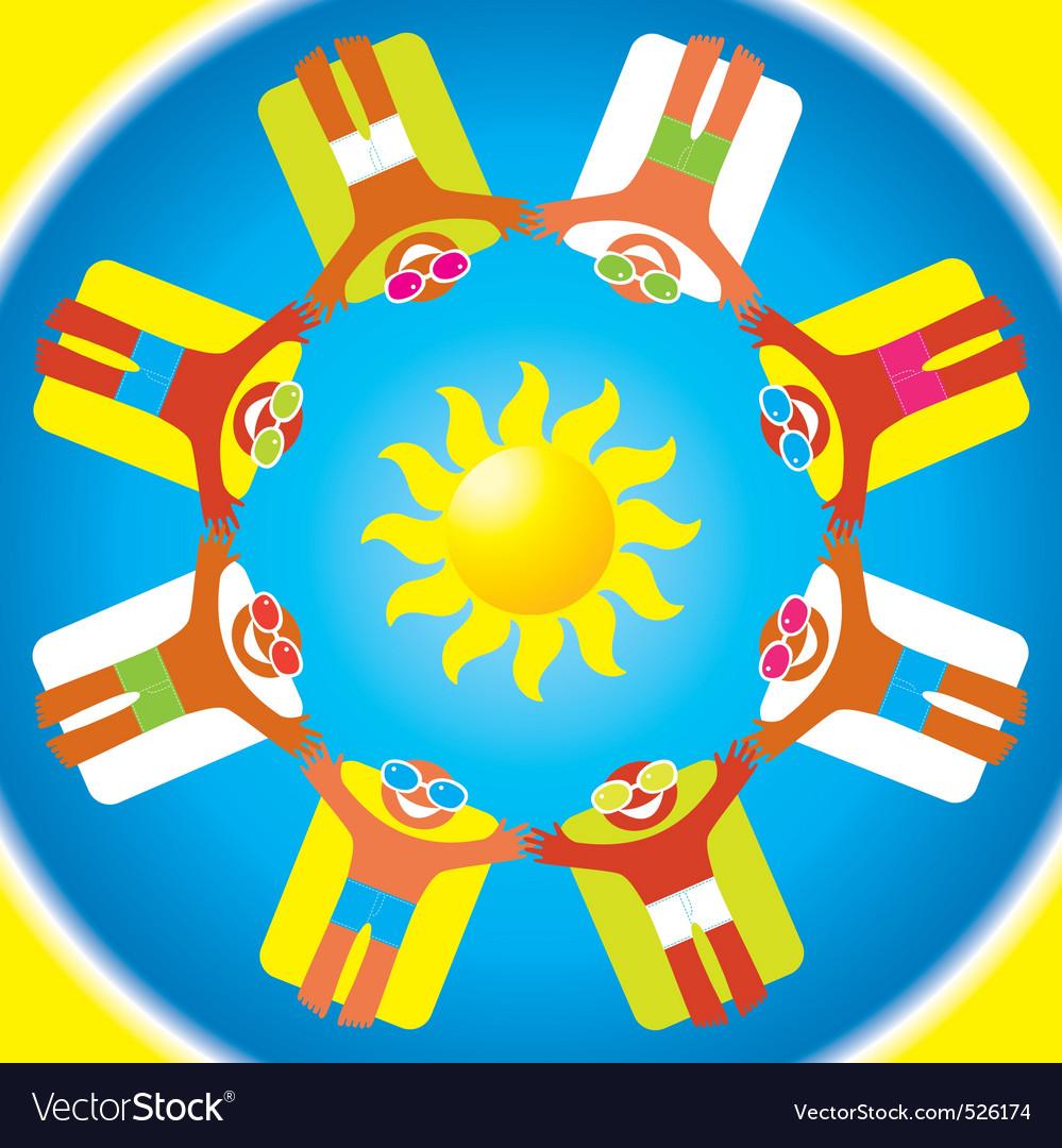 Summer sun sea happy people vector | Price: 1 Credit (USD $1)