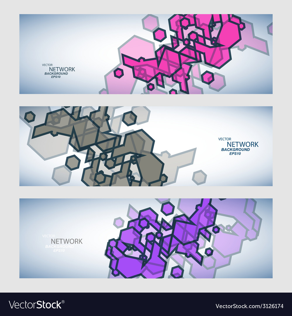 Three banner with abstract colored shapes vector | Price: 1 Credit (USD $1)