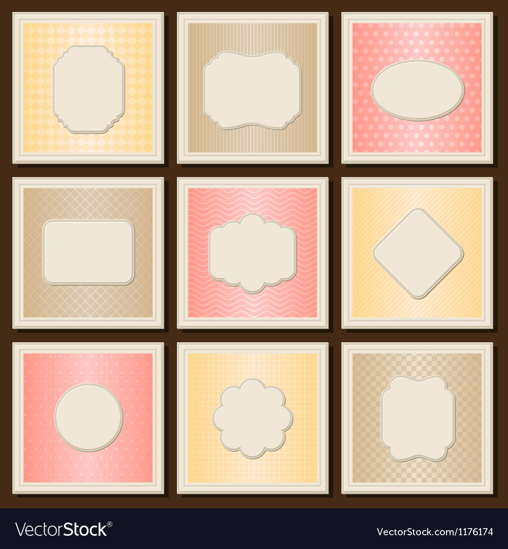 Vintage patterned cards templates set vector | Price: 1 Credit (USD $1)
