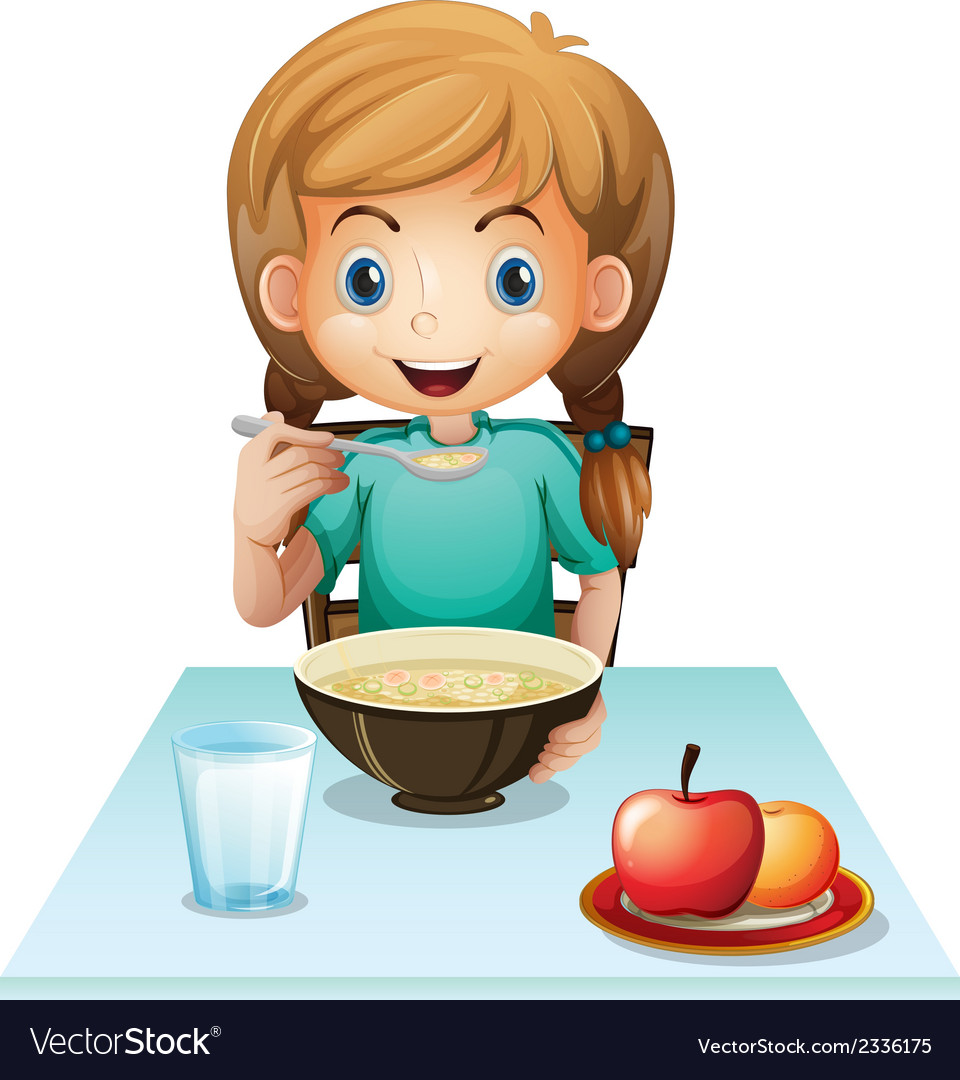 A girl eating her breakfast vector | Price: 3 Credit (USD $3)