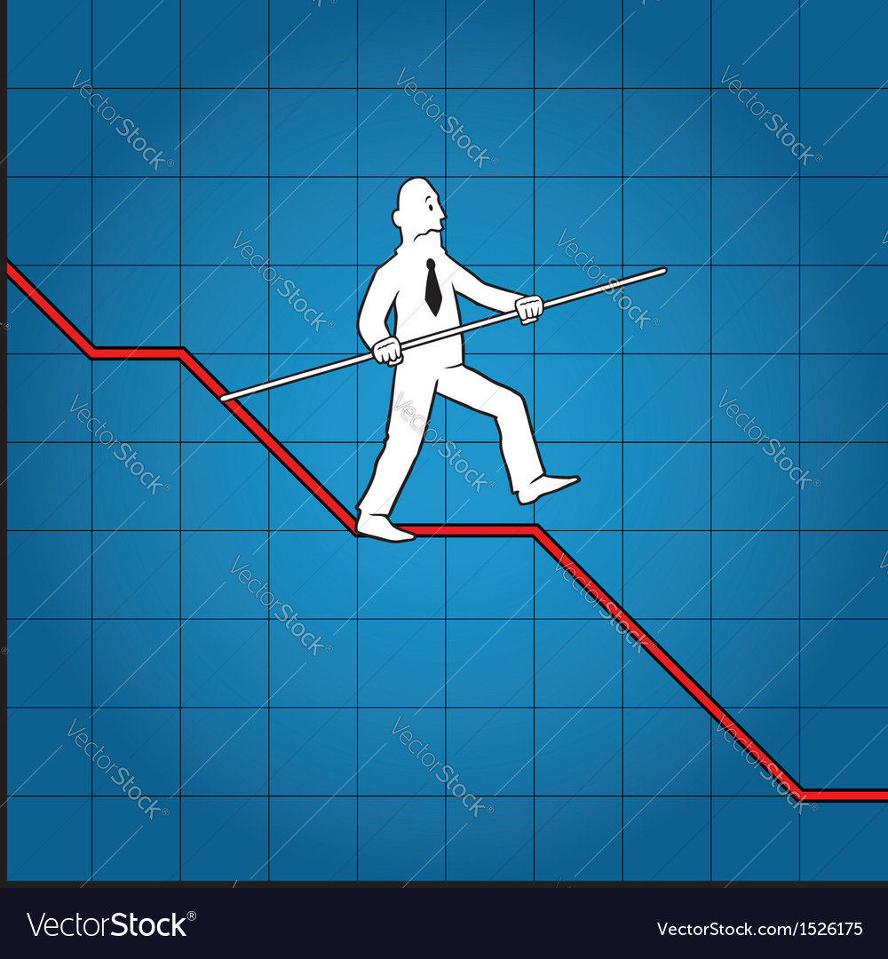 Business man balancing on declining graph vector | Price: 1 Credit (USD $1)