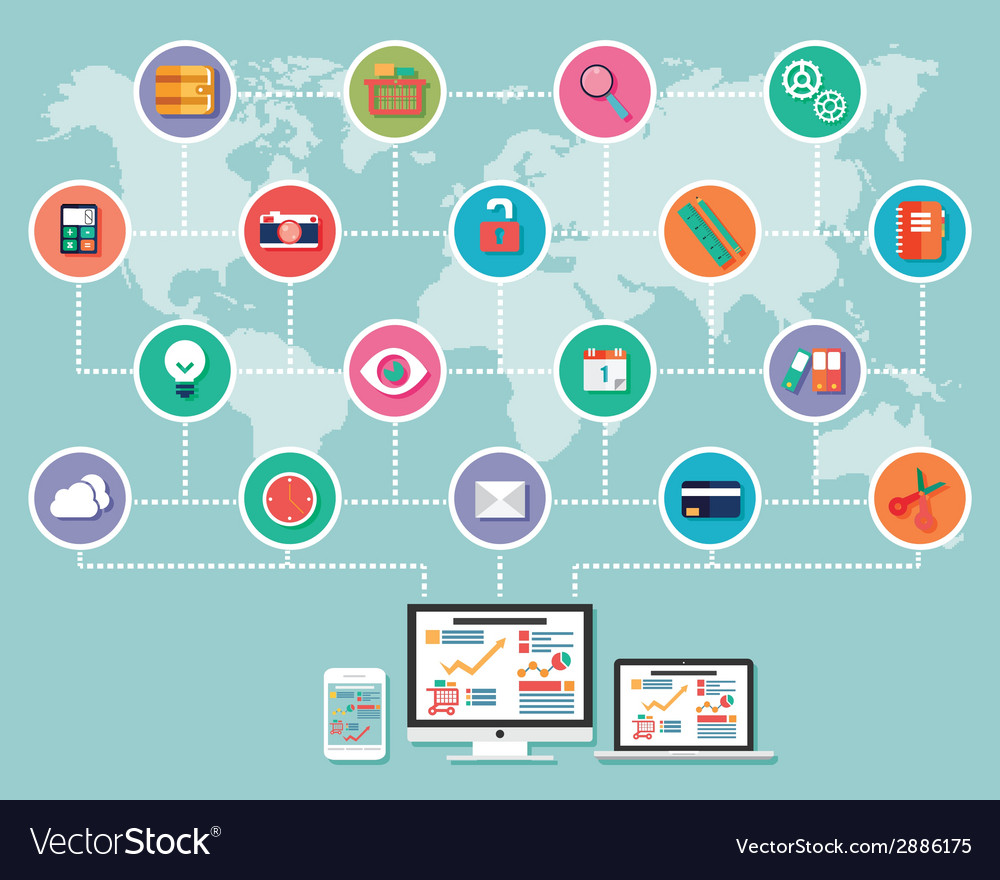Collection of flat design icons computer and vector   Price: 1 Credit (USD $1)