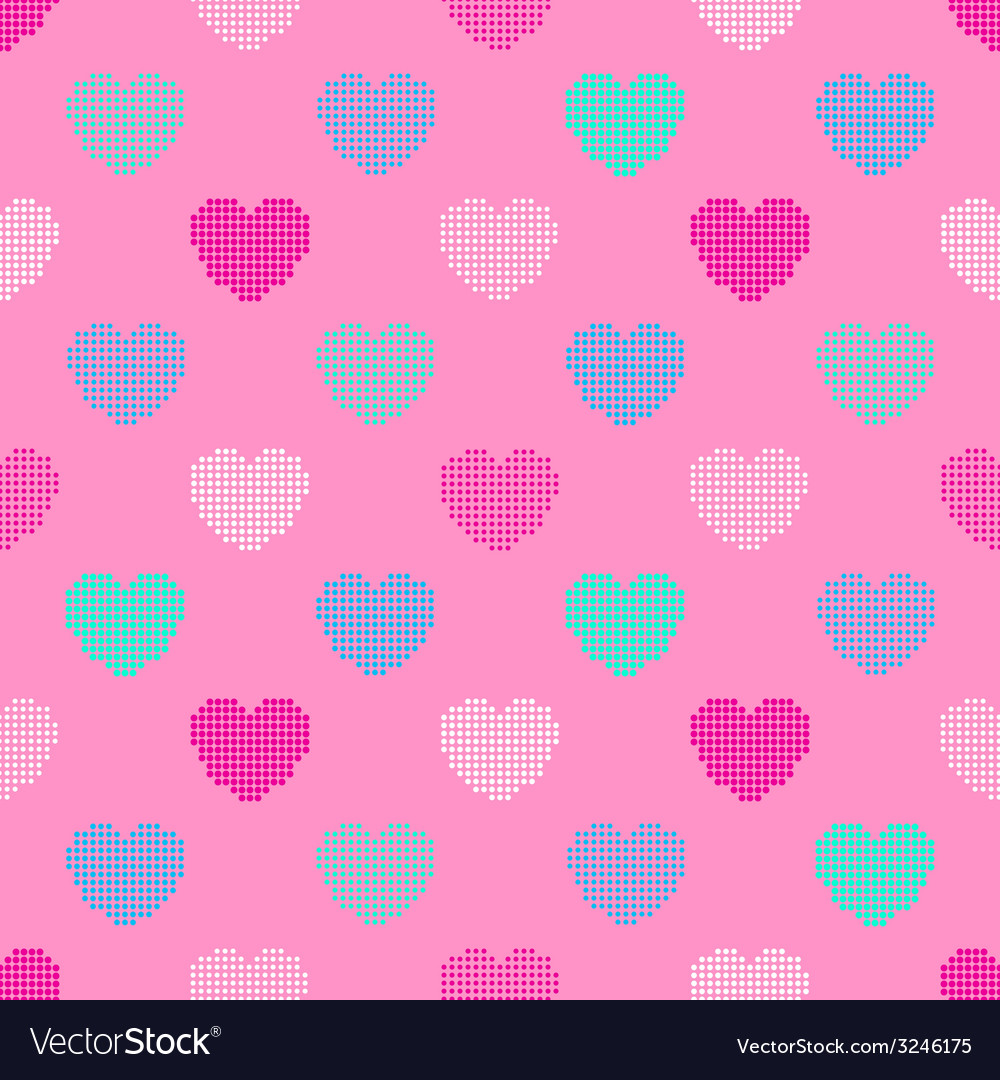 Colorful seamless pattern in halftone hearts vector | Price: 1 Credit (USD $1)
