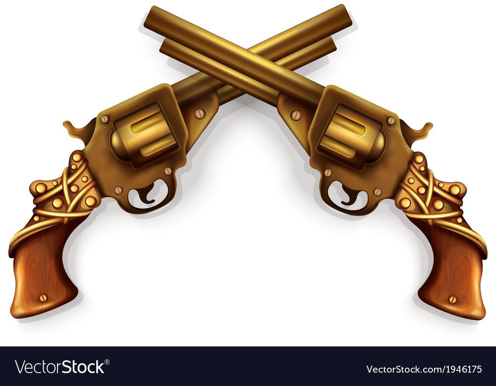 Crossed revolvers vector | Price: 1 Credit (USD $1)