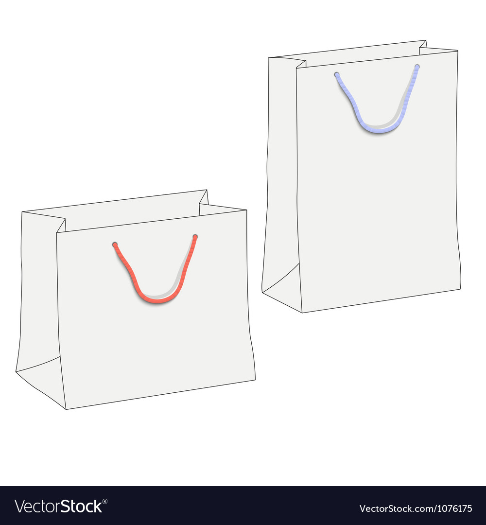 Drawing of two white shopping paper bags vector | Price: 1 Credit (USD $1)