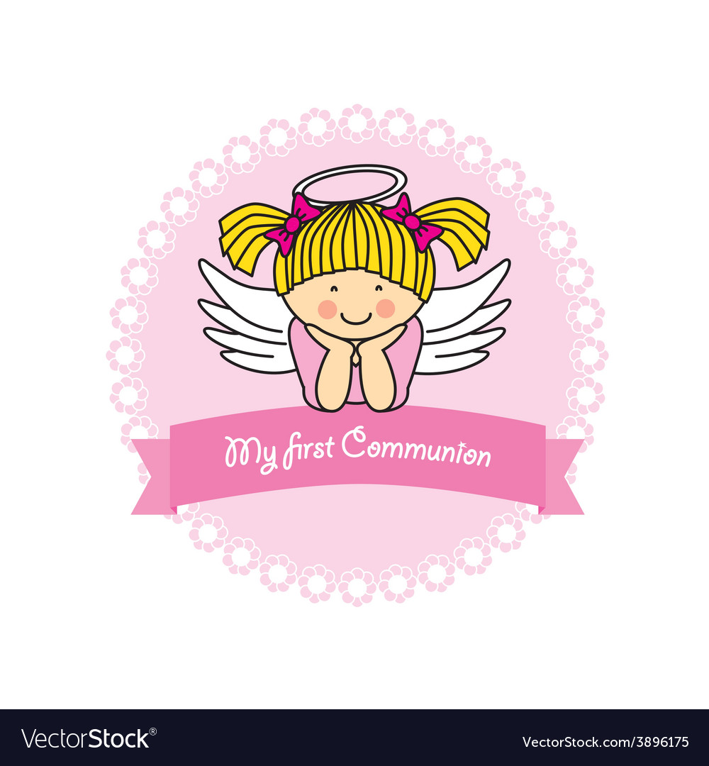 First communion card girl vector | Price: 1 Credit (USD $1)