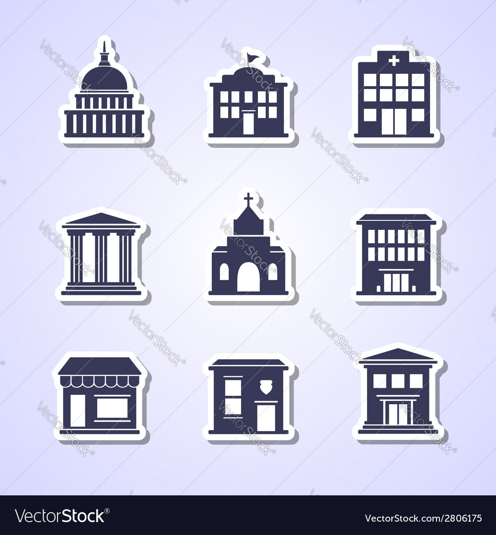 Government building paper cut icons vector | Price: 1 Credit (USD $1)