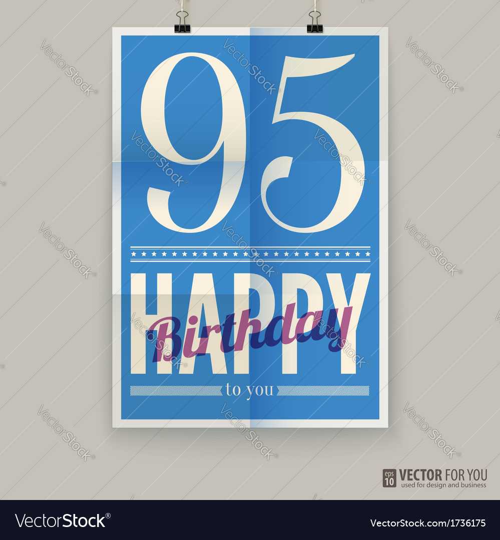 Happy birthday poster card ninety-five years old vector | Price: 1 Credit (USD $1)