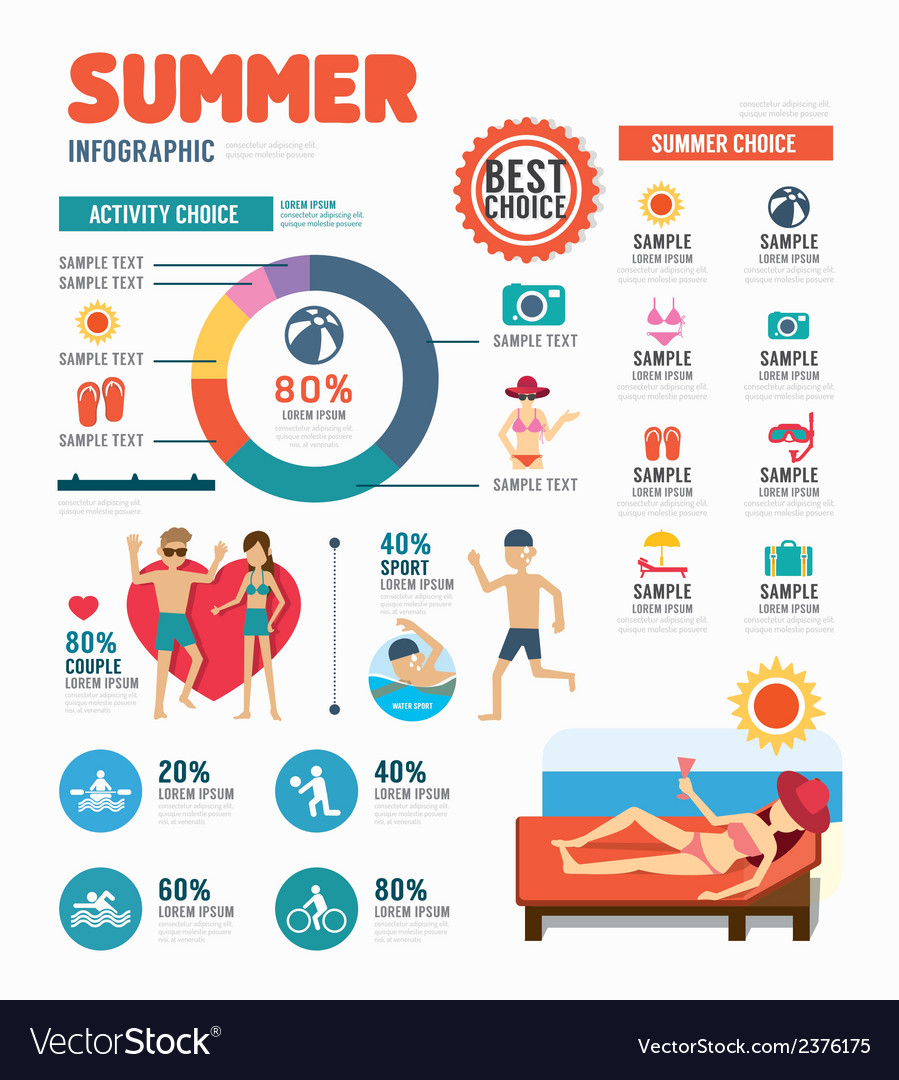 Infographic summer template design concept vector | Price: 1 Credit (USD $1)