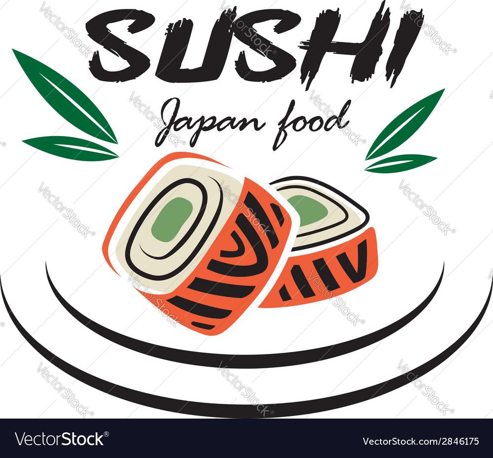 Japanese sushi seafood emblem vector | Price: 1 Credit (USD $1)