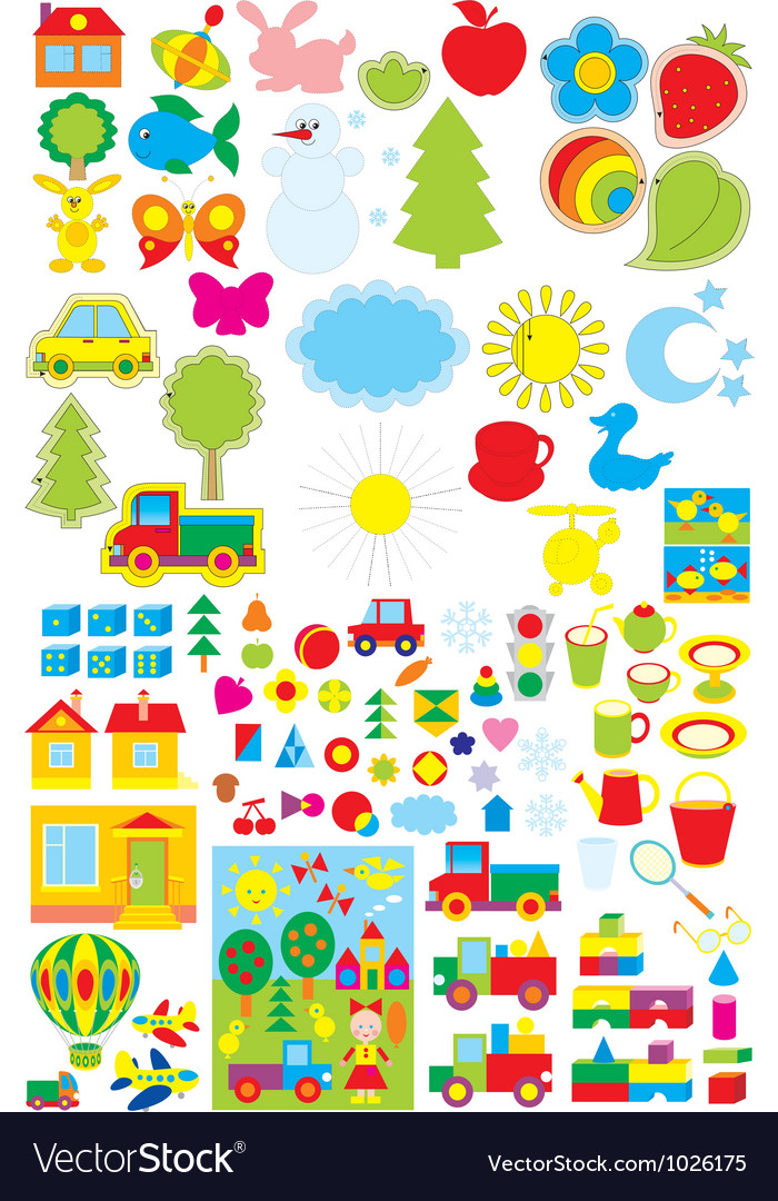 Kindergarten objects vector | Price: 1 Credit (USD $1)