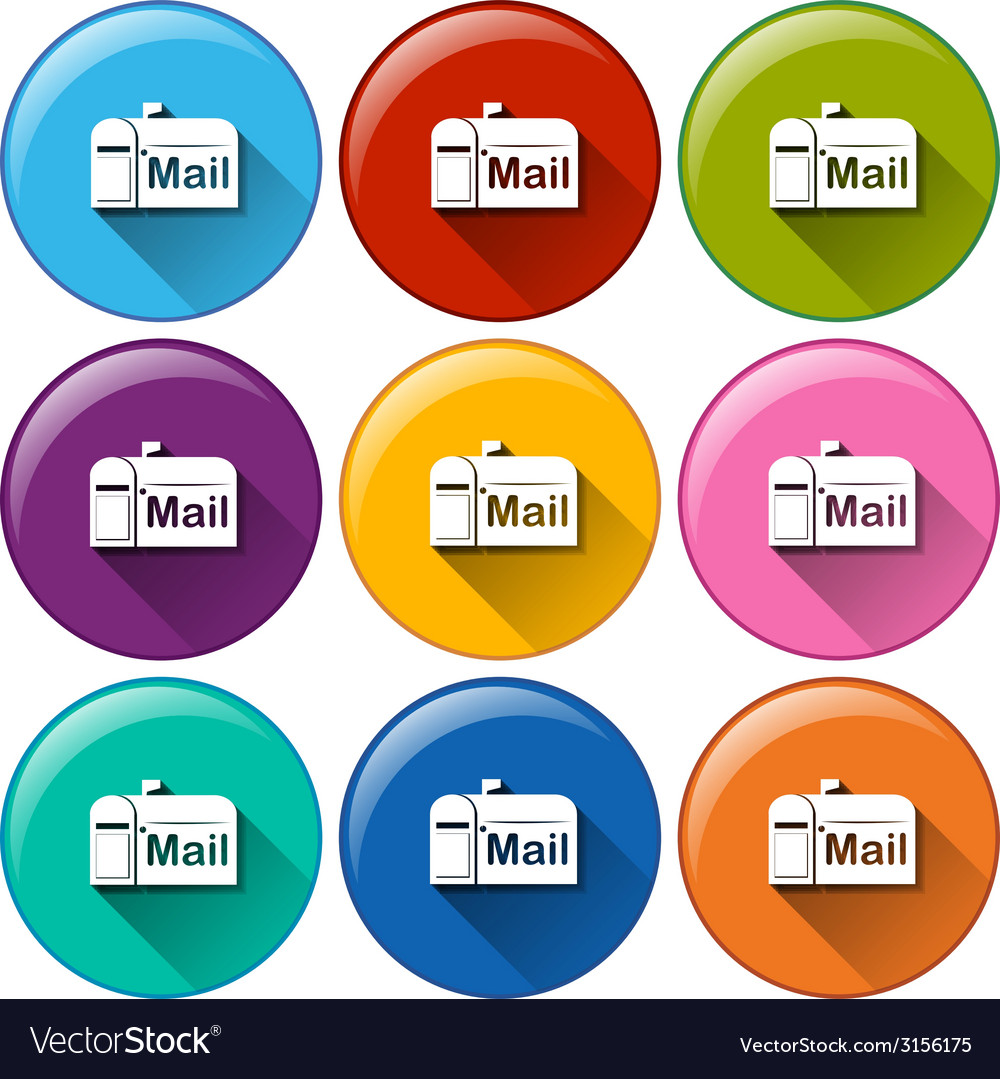 Rounded icons with mailbox vector | Price: 1 Credit (USD $1)