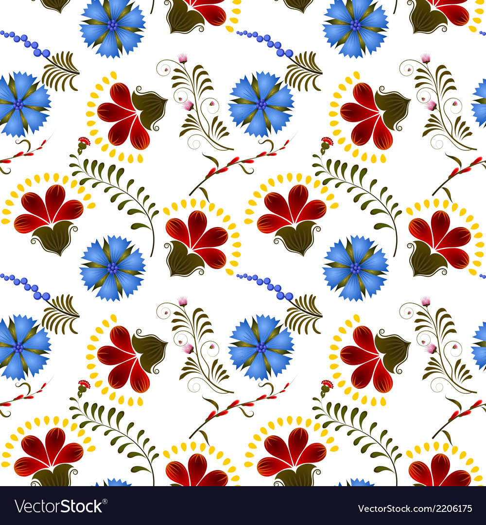 Seamless texture with red and blue flowers vector | Price: 1 Credit (USD $1)