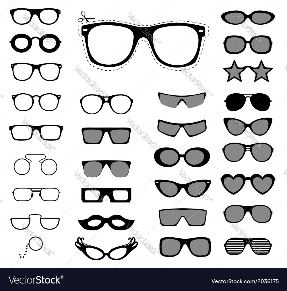Set of sunglasses and glasses vector | Price: 1 Credit (USD $1)