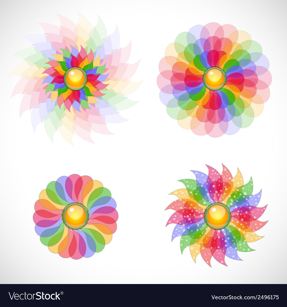 Set with abstract flowers vector | Price: 1 Credit (USD $1)