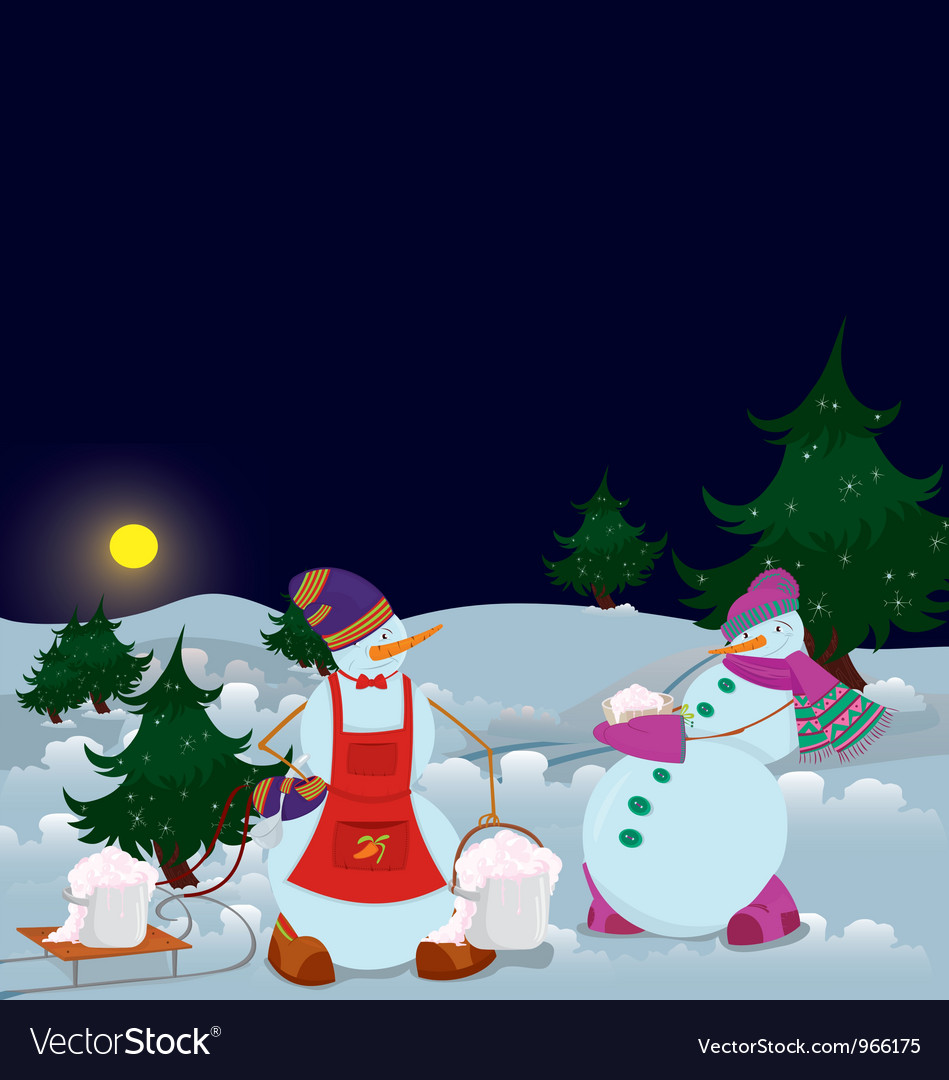 Snowmen are getting diner banner vector | Price: 1 Credit (USD $1)