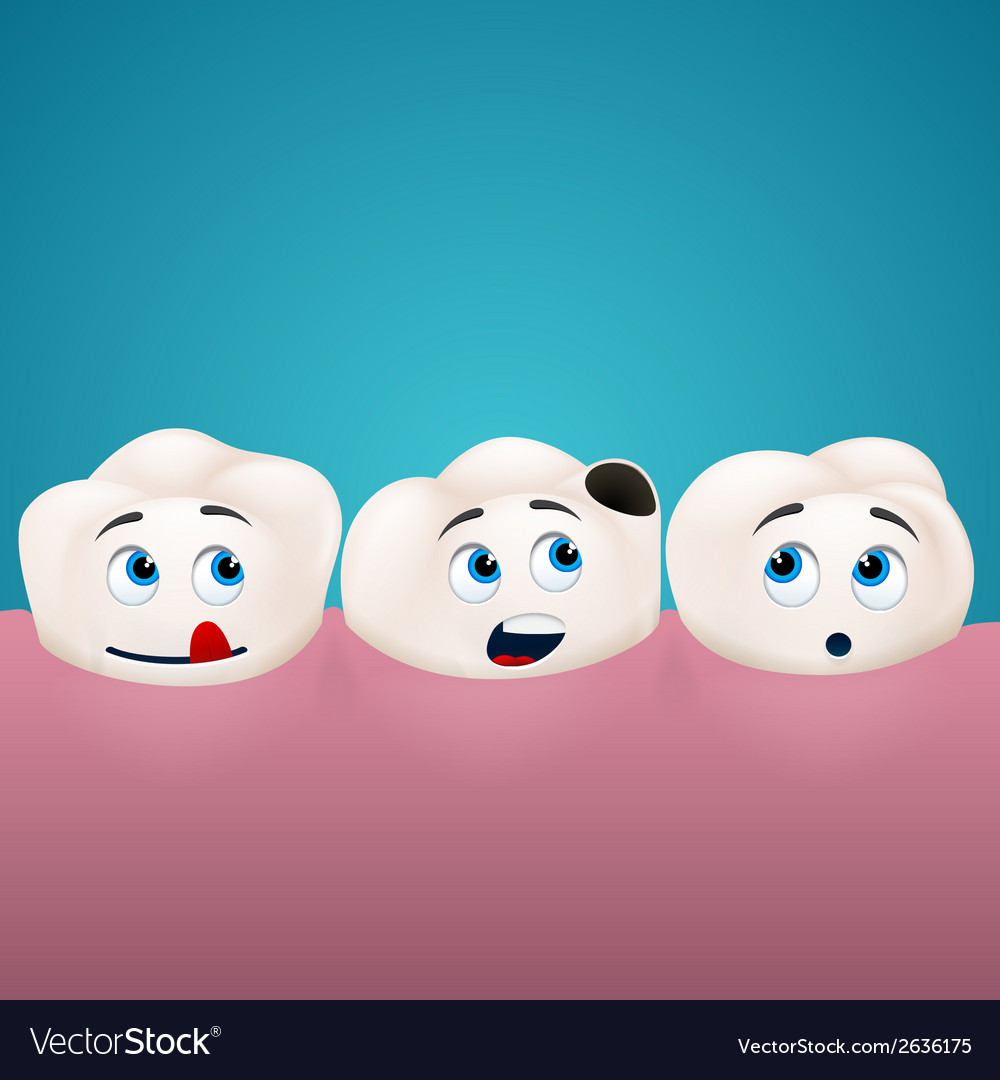 Three teeth look at the hole in one of them vector | Price: 1 Credit (USD $1)