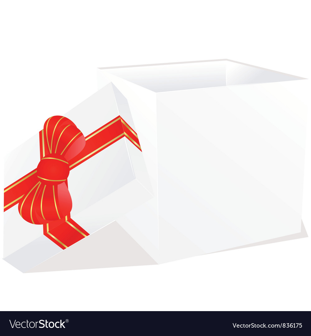 White gift box with red and gold ribbon bow vector | Price: 1 Credit (USD $1)