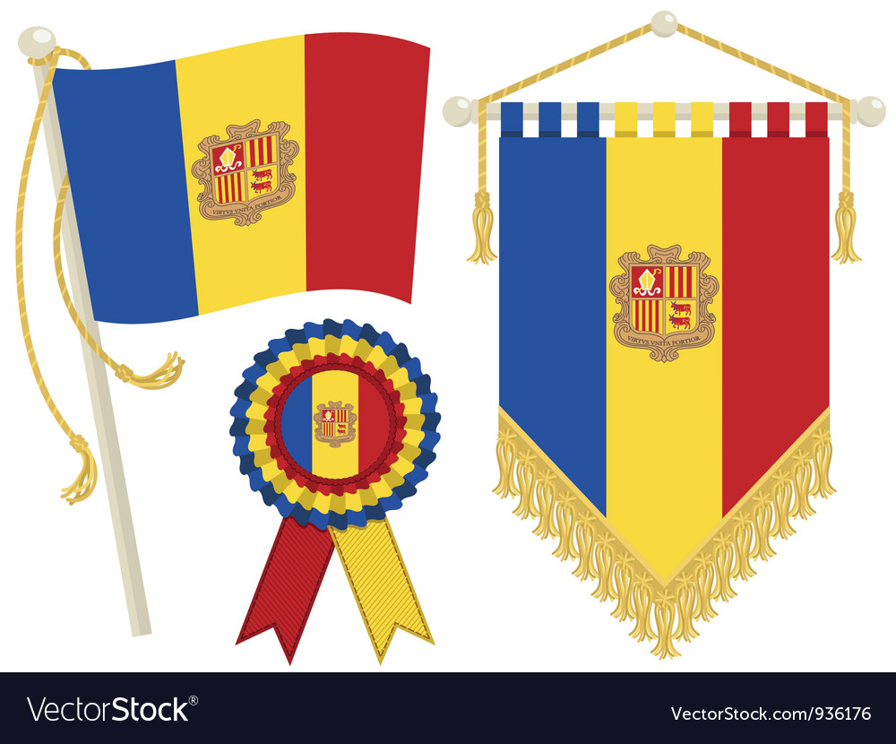 Andorra flags vector | Price: 1 Credit (USD $1)