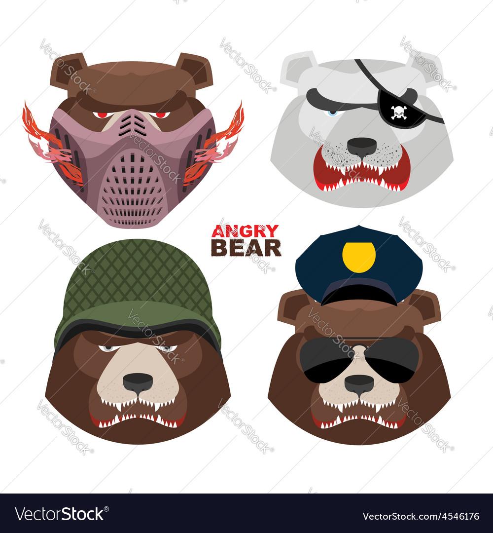 Bears set a masked bear polar bear grizzly bear vector | Price: 1 Credit (USD $1)