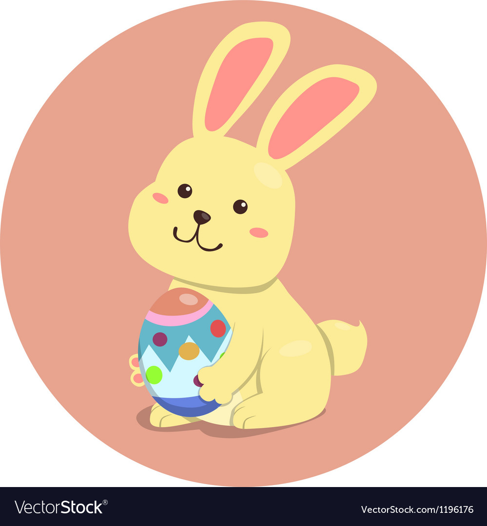 Easter rabbit cute cartoon holding egg vector | Price: 1 Credit (USD $1)