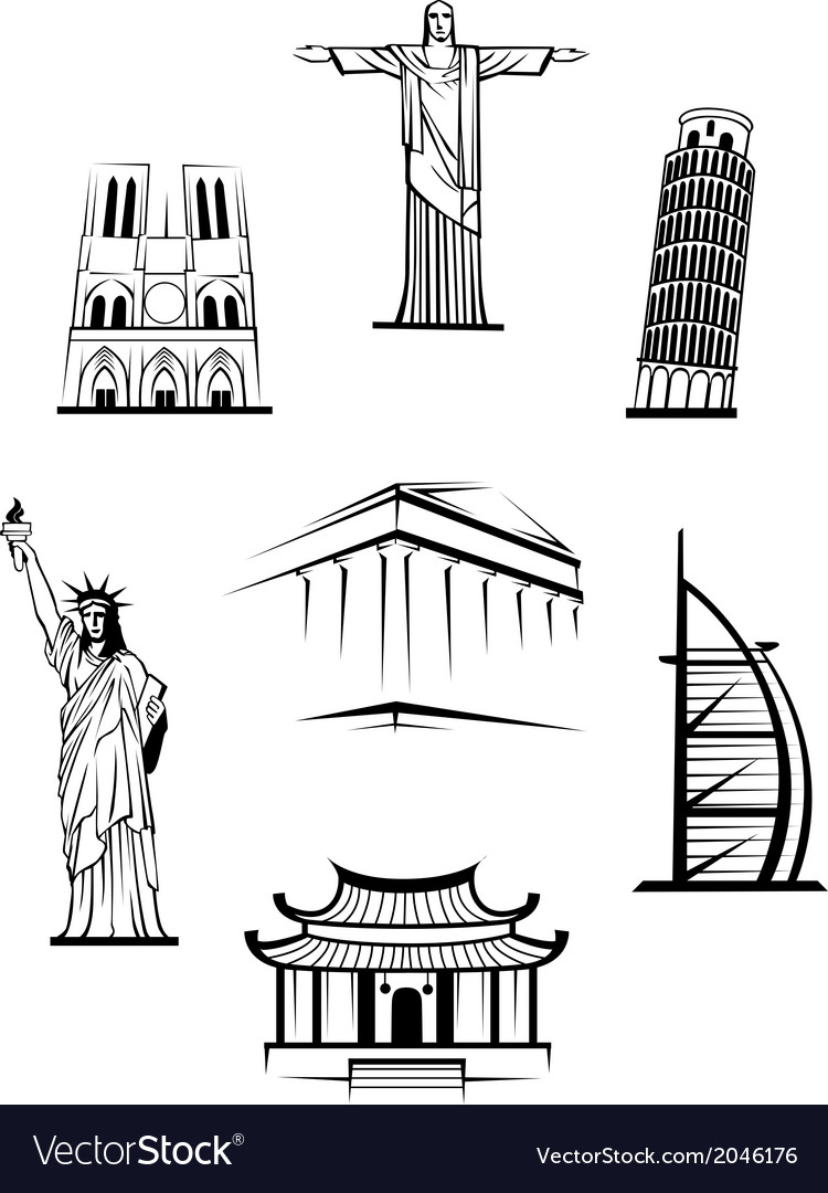 Famous travel landmarks vector | Price: 1 Credit (USD $1)