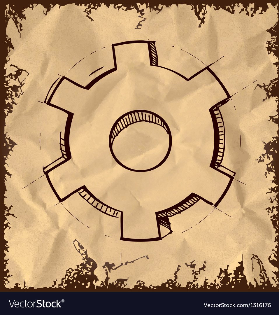 Gear icon isolated on vintage background vector   Price: 1 Credit (USD $1)