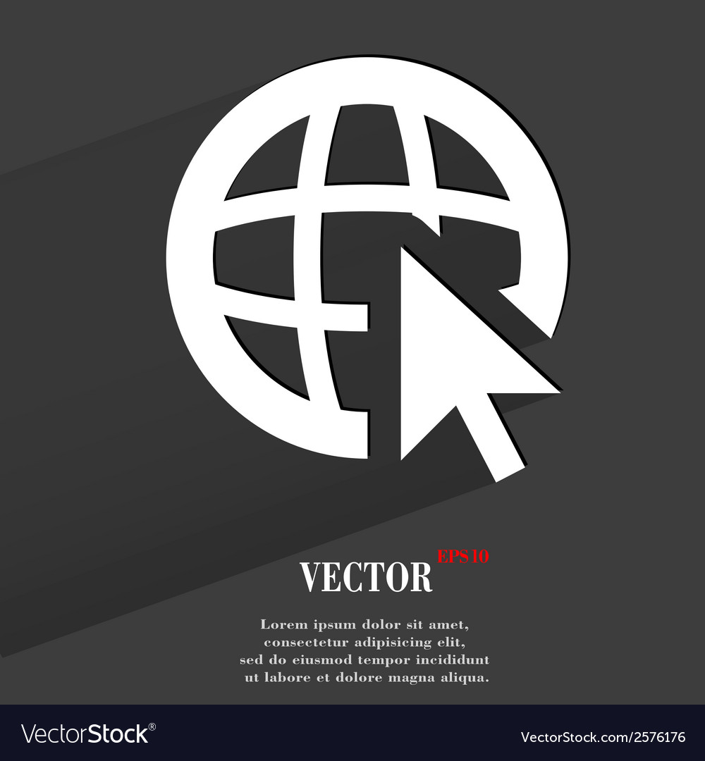 Globe flat modern web button with long shadow and vector | Price: 1 Credit (USD $1)
