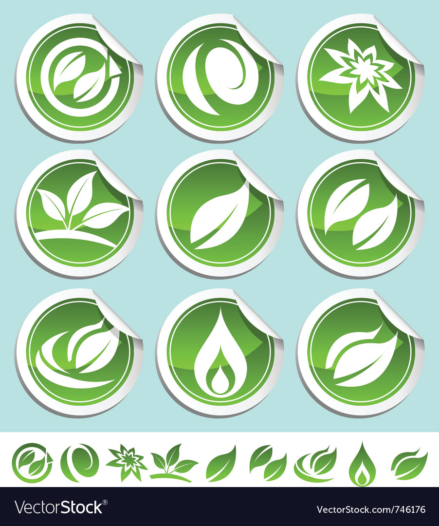 Green eco stickers vector | Price: 1 Credit (USD $1)